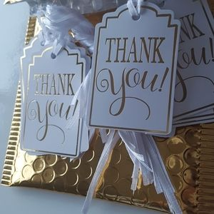"""25 Pcs Thank You Tags with Gold foil 2""""x3"""" in."""